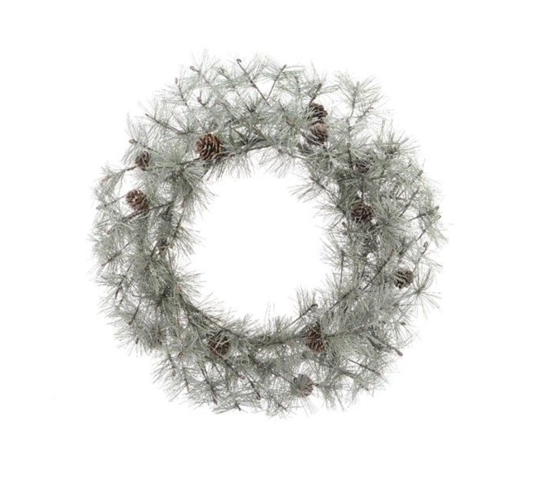 Frosted wreath pinecones - dia50cm