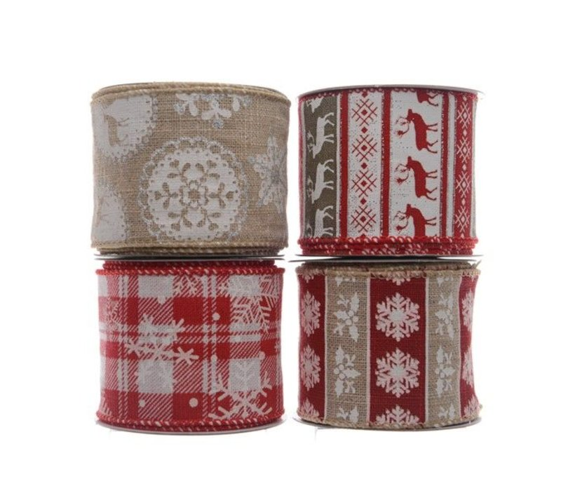 ribbon with wire deer or snowflake in Christmas red