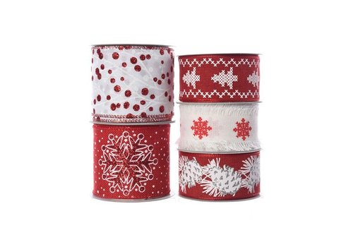 Christmas polyester ribbon with wire in assorted prints in red and white 2.7m+F81