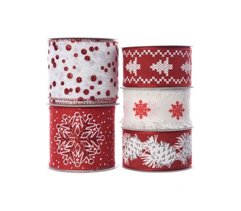 polyester ribbon with wire in assorted prints in red and white 2.7m+F81