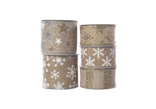 Christmas polyester ribbon with wire in assorted prints in sand colour 2.7m