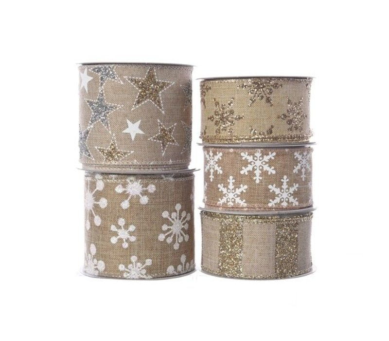polyester ribbon with wire in assorted prints in sand colour 2.7m