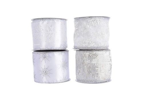 Christmas polyester ribbon with wire snowflake, tree, star or birch in white with silver