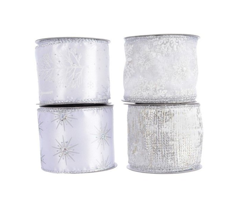 polyester ribbon with wire snowflake, tree, star or birch in white with silver