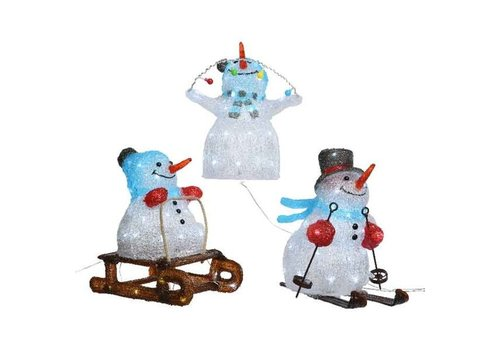 Christmas LED acrylic snowman - skiing, sledding or  snowman w lights - 40 lights