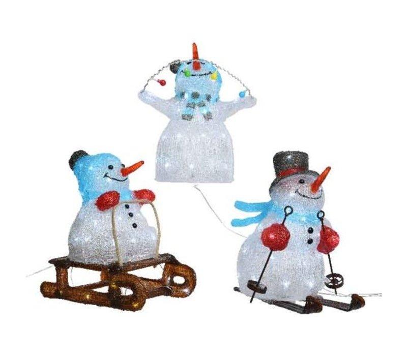 LED acrylic snowman - skiing, sledding or  snowman w lights - 40 lights