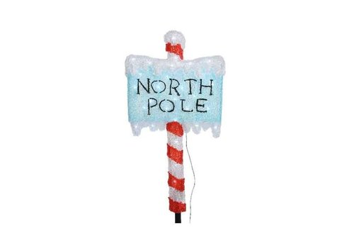 Christmas LED acrylic North Pole with ground spike - 30 lights