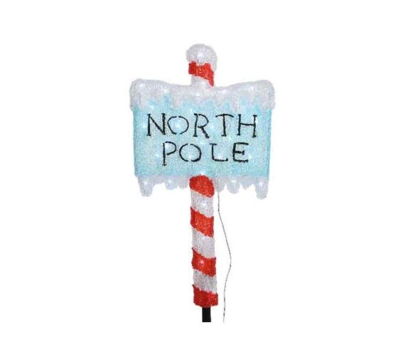 LED acrylic North Pole with ground spike - 30 lights