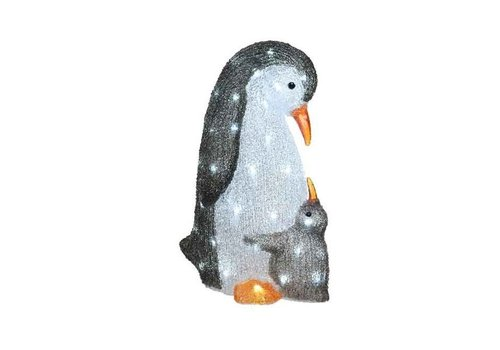 Christmas LED acrylic penguin with baby in white grey - 60 lights