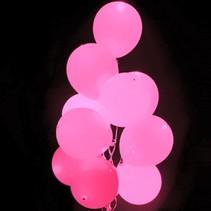Roze Led Ballonnen 30cm 5 stuks