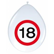 Ballonnen 18 Jaar Verkeersbord 30cm 8 stuks (D10-2-3)