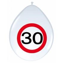 Ballonnen 30 Jaar Verkeersbord 30cm 8 stuks