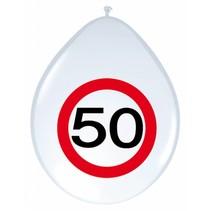 Ballonnen 50 Jaar Verkeersbord 30cm 8 stuks (C7-4-1)