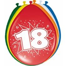Ballonnen 18 Jaar 30cm 8 stuks (D10-2-4)