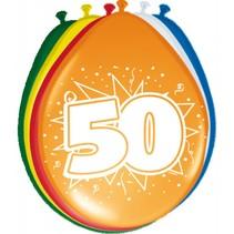 Ballonnen 50 Jaar 30cm 8 stuks (C7-4-2)