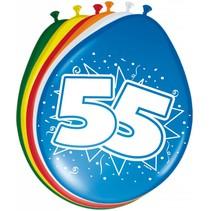 Ballonnen 55 Jaar 30cm 8 stuks