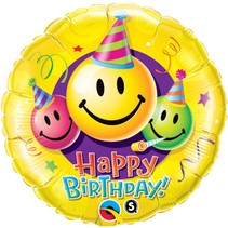 Helium Ballon Happy Birthday Smiley 46cm leeg (G18-2-1)