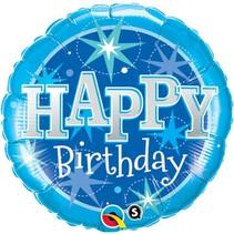 Helium Ballon Happy Birthday Blauw 46cm leeg
