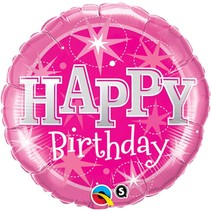 Helium Ballon Happy Birthday Roze 46cm leeg