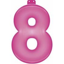 Opblaascijfer 8 Roze 35cm (D14-6-2)
