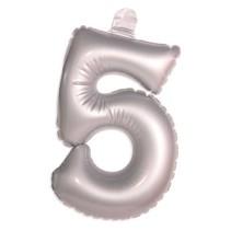 Opblaascijfer 5 Zilver 35cm