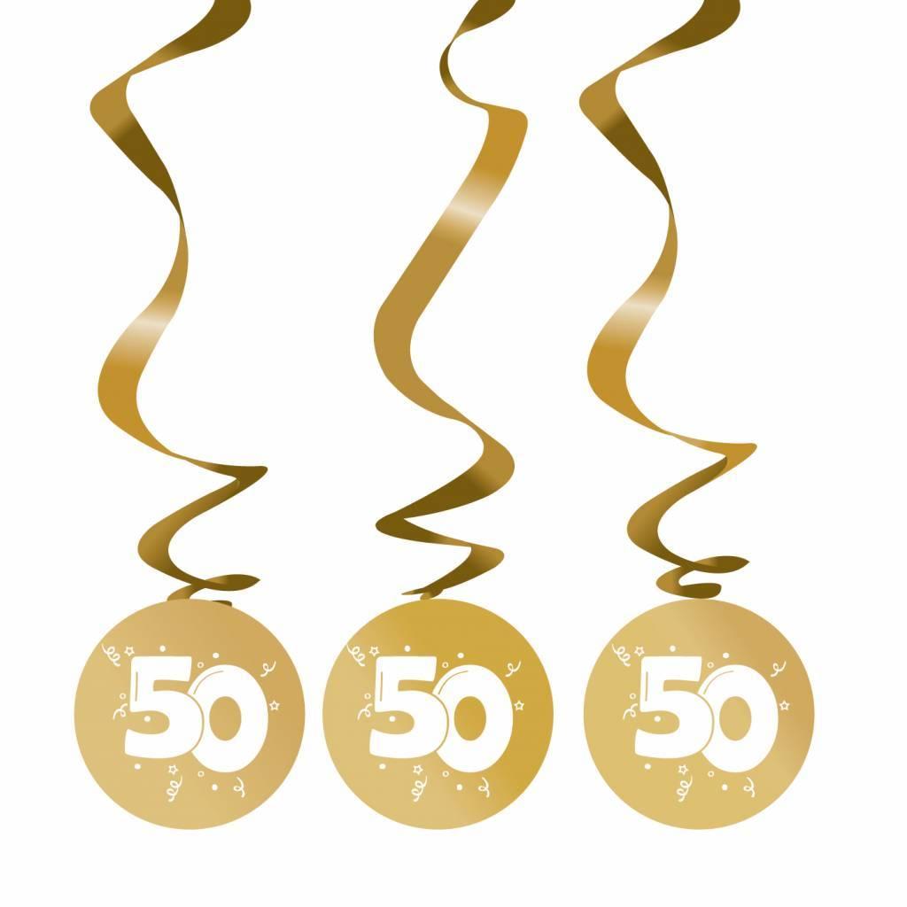 Hangdecoratie 50 jaar goud versiering 75cm 3 stuks for Versiering goud