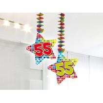Hangdecoratie 55 Jaar 75cm 2 stuks