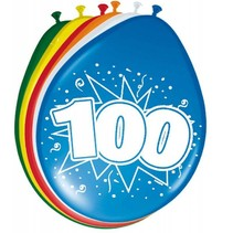 Ballonnen 100 Jaar 30cm 8 stuks (D1-8-3)