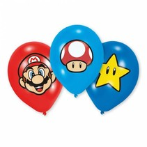 Super Mario Ballonnen Versiering 28cm 6 stuks