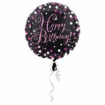Helium Ballon Happy Birthday Zwart & Rond 43cm leeg