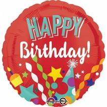 Helium Ballon Happy Birthday Rood 43cm leeg
