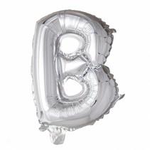 Folie Ballon Letter B Zilver XL 86cm leeg