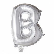 Folie Ballon Letter B Zilver 41cm met rietje