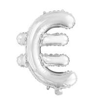 Folie Ballon Euroteken € Zilver 41cm met rietje