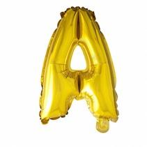 Folie Ballon Letter A Goud 41cm met rietje