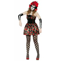 Halloween Kostuum Dames Jurk Skelet Day of the Dead (L3-1-4)