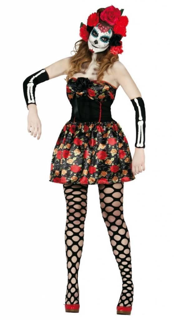3fff9c0a1faefe Halloween Kostuum Dames Jurk Skelet Day of the Dead - Partywinkel.nl