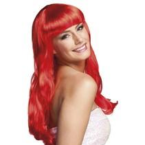 Pruik Lang Haar Rood