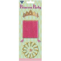 Prinsessen Kaarsjes Party 12 stuks