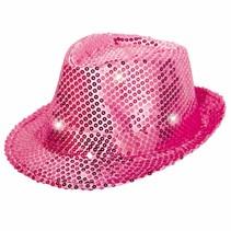Glitter Hoed Roze met LED