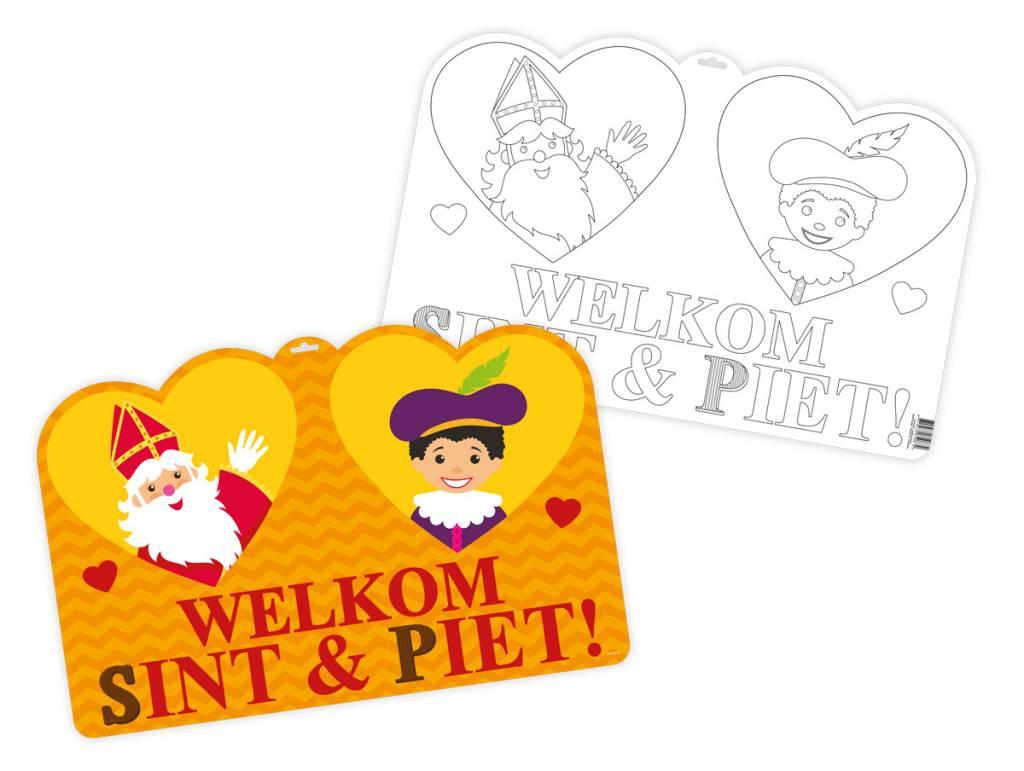 Sint En Piet Kleurplaat Deurbord 58cm Partywinkel Nl