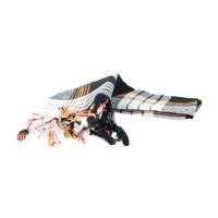 Pestemal noir à carreaux 170 x 80 cm