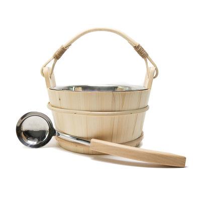 Sauna Eimer Holz 5 L mit Edelstahleinsatz Eimer und Löffel