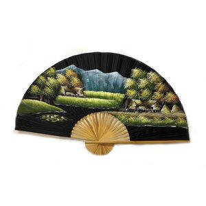 Chinesischer Fächer schwarz 150 cm