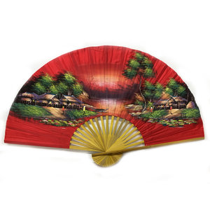 Eventail chinois rouge 150 cm