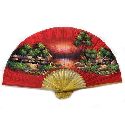 Chinesischer Fächer rot 150 cm