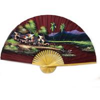 Chinesischer Fan Bordeaux rot 150 cm