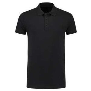 Lemon & Soda L&S unisex polo Basic Cotton Elasthan zwart