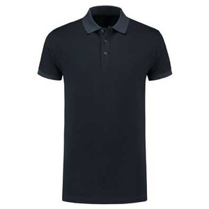 Lemon & Soda L&S unisex polo Basic Cotton Elasthan donker navy