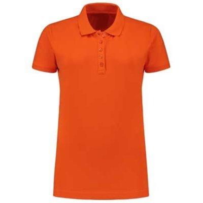 Lemon & Soda L&S damespolo Basic Cotton Elasthan oranje